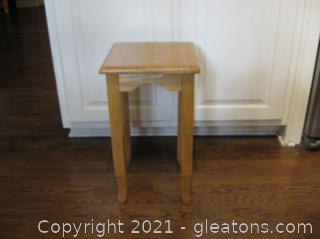 Small Blonde Wood Side Table