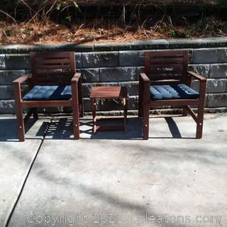 2 Wooden Patio Chair with Small Table