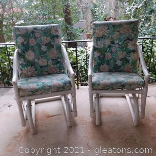 Pair of PVC Patio Glider Chairs