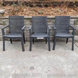 3 Grosfillex Stacking Armchairs