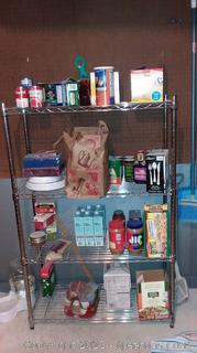 4 Shelf Wire Shelving Unit (Contents on Shelves Not Included)