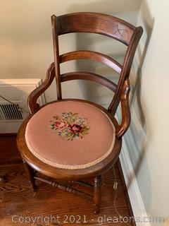 Ladder Back Accent Chair with Needle Point Cushion