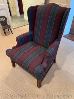 Plaid Wingback Arm Chair