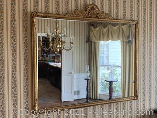Thin Framed Gold Gilded Wall Mirror with Shell Motif