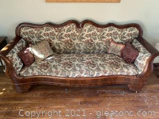 Rolling Loveseat with Needlepoint Detailing
