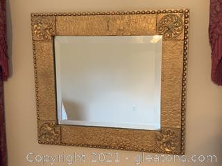 Swirl-Motif Beveled Wall Mirror