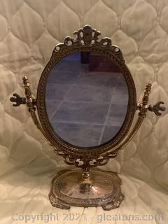 Gilded Mini Table Top Vanity Mirror
