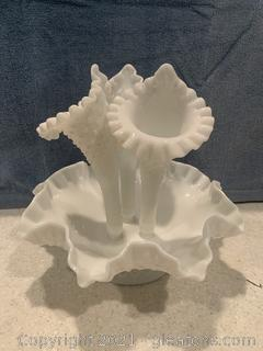 Fenton Epergne Milk Glass Hobnail Bowl with 3 Inserts