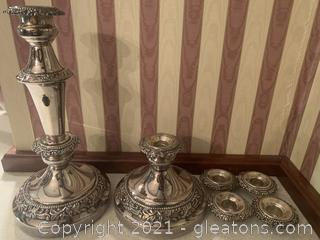 Set of Silver Candle Holders