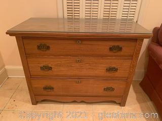 Glass Top 3 Drawer Dresser