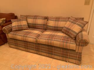 Plaid Upholstered Sofa