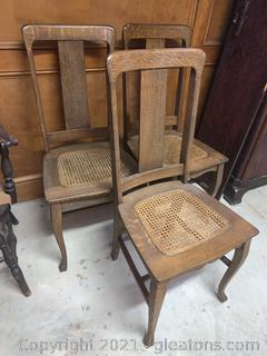 Set of 3 Rattan Seat Dining Chairs
