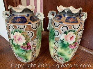 Nippon Ruffleneck Vases