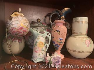 Handpainted Porcelain Vases and Pitchers