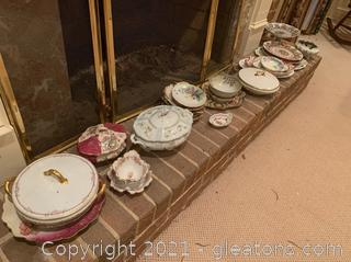 Handpainted Porcelain Serving Trays and Soup Tureens