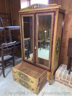 Mirrored Armoire on Wheels