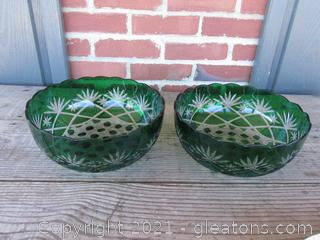 Two Cut to Clear Green Bowls