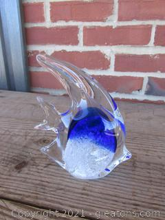 Blown Art Glass Cobalt Blue, White and Clear Angel Fish