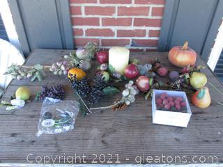 Lot of Fruit Picks / Pumpkin / Fruit / Garland Piece / Apple Candle Ring & Candle