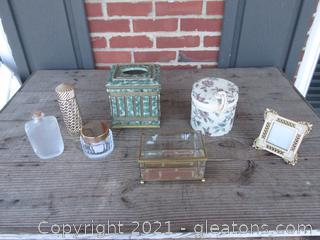 Tissue Cover Box,Brass, Glass & Mirror Trinket Box, Small Photo Frame, Two Empty Containers, Empty Storage Container & Empty Gold Tone Container