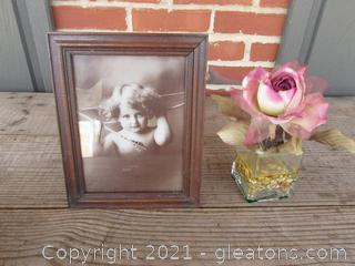 Antique Cupid Awake Print 1897 By MB Parkinson Sepia Photo / Rose in Vase