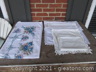 Vintage Linens Lot of TableCloth with Flowers, Small Runners, and a pillow case