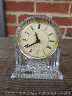 Crystal Mantel Clock 4 1/2 inches tall and 4 inches wide