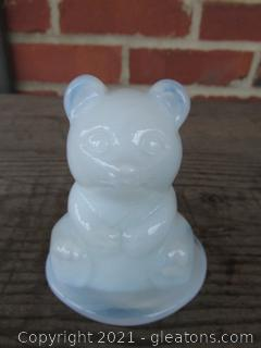 Aborable Glass Art Opalescent Snow Bear Figurine Paperweight