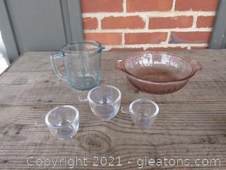 Vintage Kitchen Ware / Blue Tint 2 Cup Measuring Cup / Jeannette Poinsettia Depression Glass Pink Tint Casserole Bowl No Lid / 3 oz,2 oz, & 1 1/4 oz Glass Measuring Cups