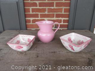2 Temptation Serving Bowls Pink Vineyard and 1 Nova Studio Pink Sherbet Pitcher