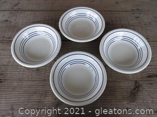 4 Primula White with Blue Bands 8 inches in diameter Pasta / Soup Bowls Made in Italy