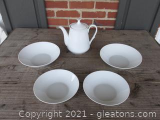 White Tea / Coffee Pot / 2 White Serving Bowls 7 1/4 inches in diameter / 2 White Serving Bowls 8 1/2 inches in diameter