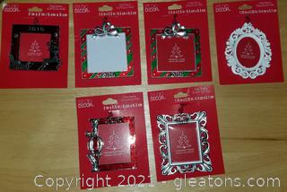 Lot of 6 Holiday Frame Ornaments