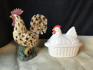 FARMHOUSE ROOSTER AND CHICKEN SOUP TUREEN