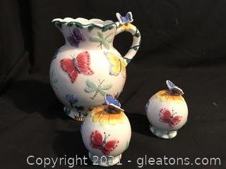 Hand painted butterfly pitcher and matching salt and pepper shakers