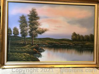 "Oil on canvas signed painting 41""x28"""