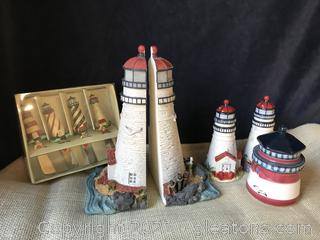 LIGHTHOUSE LOT, BOOK ENDS, SALT/PEPPER  TRINKET JAR AND 4 SPREADER KNIVES