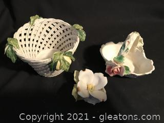 Italian hand painted baskets and porcelain dogwood flower