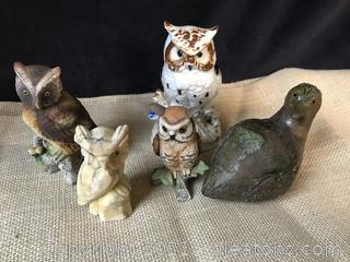 4 OWL FIGURES 1 CLAY PARTRIDGE