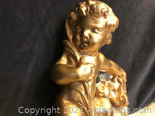 Gold Cherub holding Mirror wall plaque