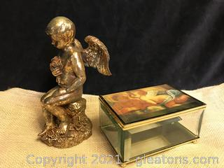 "Cherub trinket box 8"" gold cherub"