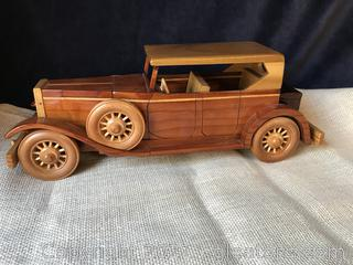 HAND CRAFTED WOODEN CAR WHEELS TURN