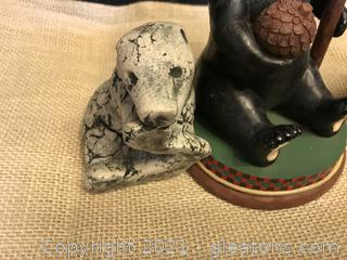 MOUNT SAINT HELENS ASH CARVED BEAR SIGNED STAN TWO BEAR CANDLE HOLDERS
