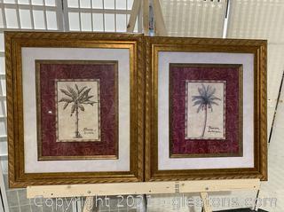 Pair of Framed Palm Tree Art