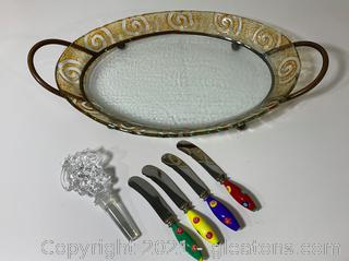 Oval Glass with Stand ,Glass Wine Stopper and 4 Cheese Spread Knives