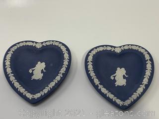 2 Blue Jasperware Wedgewood Dish