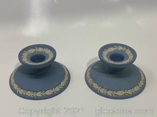 2 Blue Jasperware Wedgewood Candlesticks
