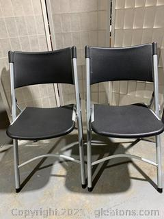 2 Black/Grey Folding Chairs