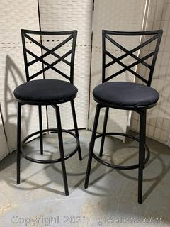 Pair of Upholstered Swivel Counter Stools