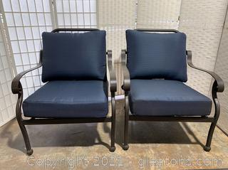 Pair of Outdoor Scroll Arm Patio Chairs